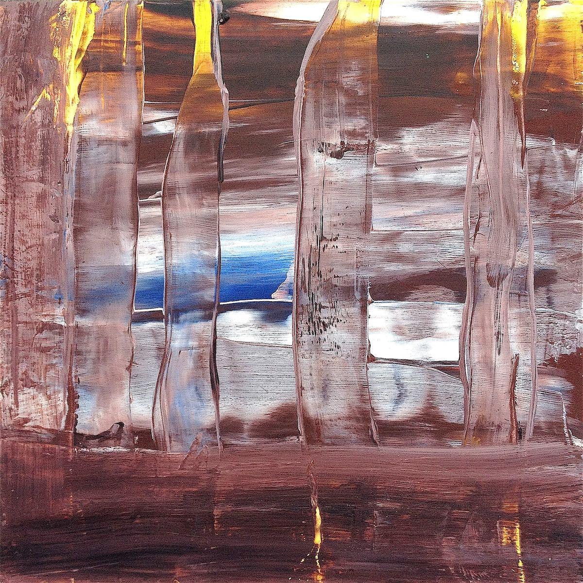「茶褐色の疾走」 オイルパステル、アルキド樹脂絵具 18,5 × 18,5cm 2015年