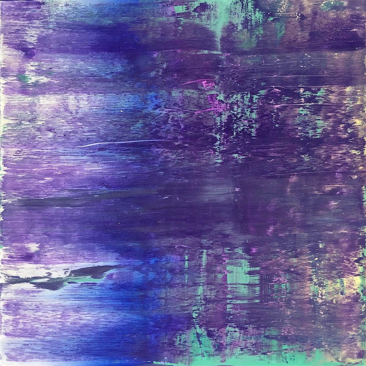 「暖かな蒼い日射し」 オイルパステル、アルキド樹脂絵具 15 × 15cm 2016年
