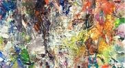 「オレンジとブルーの錯綜」 オイルパステル、アルキド樹脂絵具 11 × 11cm 2016年