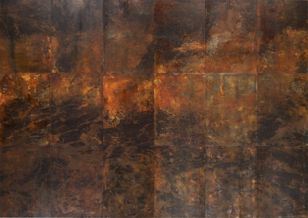 Water of Mind'11s-Ⅰ 90×126cm  2011年 (鳥の子紙に写真をプリント 鉄錆を転写)