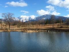 冬枯れの公園、白い山並み。いい天気でした。