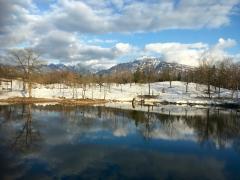 午後から天候回復、暖かくなって、積雪もご覧の通りです。