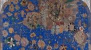 太陽と花と星 パネル、和紙、鉛筆、顔料、箔 1940×3240×40mm 2012