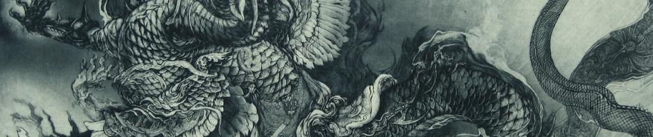 「夢幻の彼方へ」銅版画(技法:エッチング、アクアチント)410×600㎜ 2013年