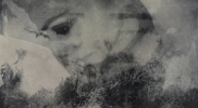 嬾惰棘女電気仕懸け No.1 パネル 硫酸カルシウム シルクスクリーン アクリル 岩絵具 オイルバー 蜜蝋 墨 1680×1150mm 2015年